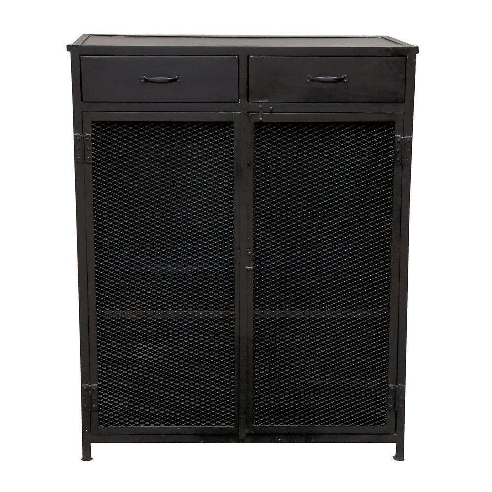 Buffet métal noir 'Brooklyn' 2 tiroirs+2 portes +2 étagères L100 x P40 x H130cm (photo)