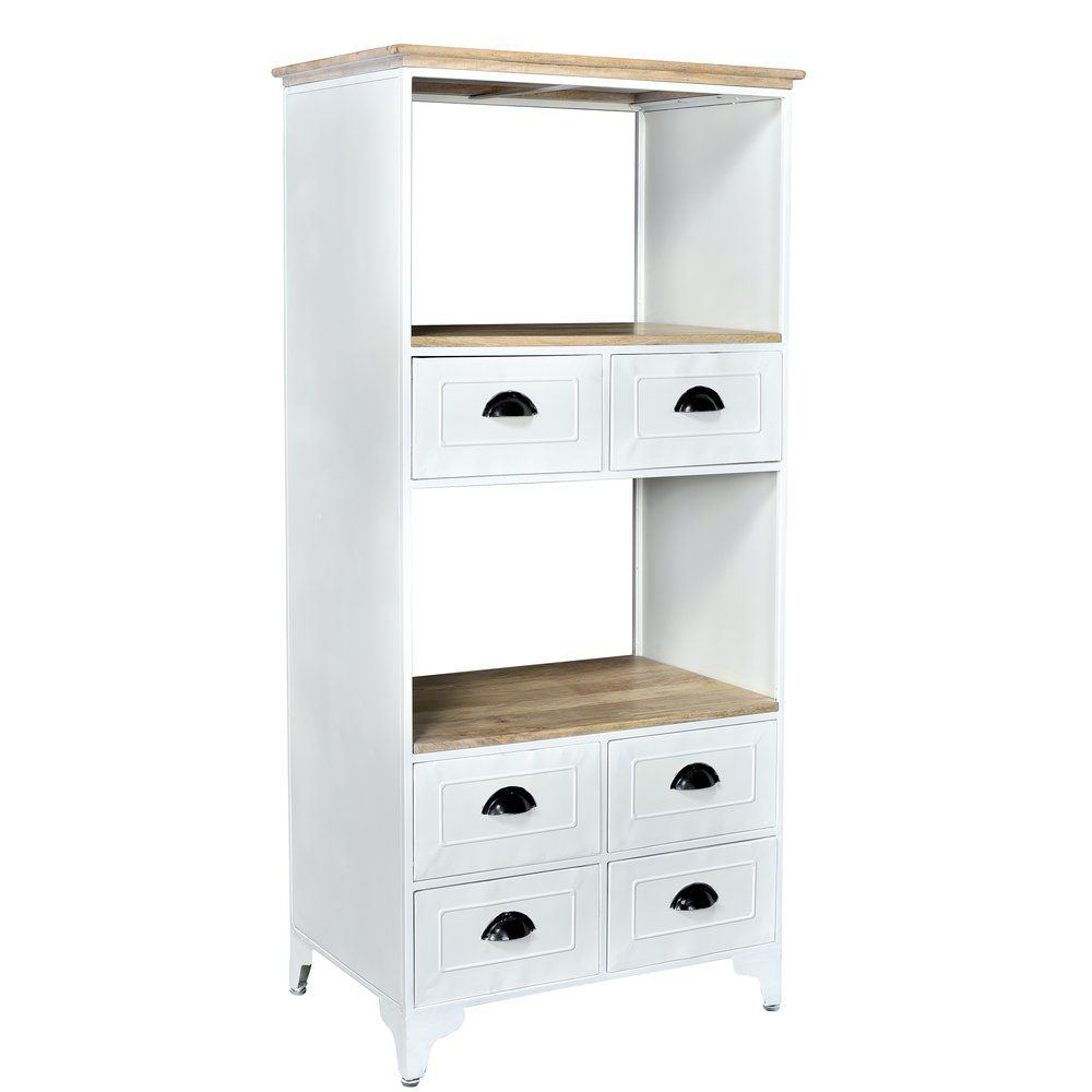 Buffet 'Paris' 2 cases+6 tiroirs bois naturel/métal blanc L68 x P46 x H148cm (photo)