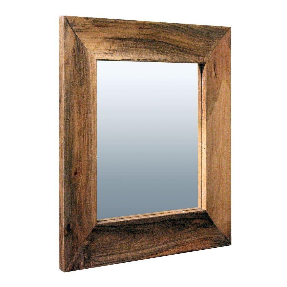 Miroir 'Aspen' cadre incurvé bois verni L80 x H80cm. (photo)