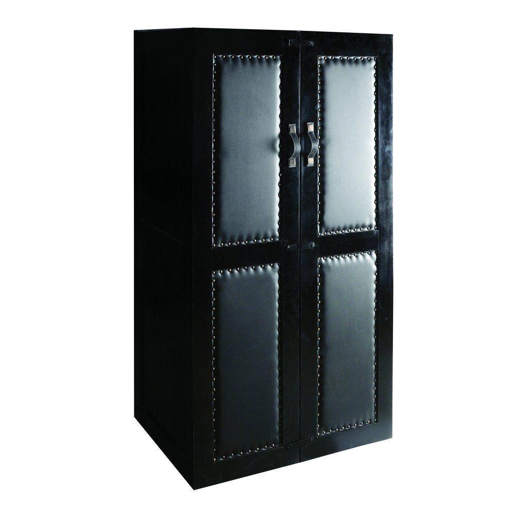 Commode malle vintage industriel bois noir/simili cuir noir L90 x P60 x H165cm (photo)