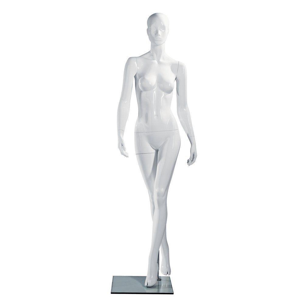 Mannequin femme blanc laqué jambes croisées, tête abstraite (photo)