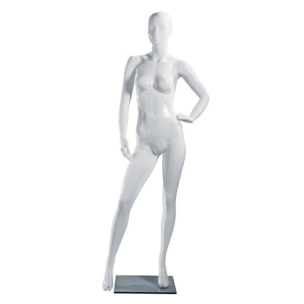 Mannequin femme blanc laqué jambe droite avant droite, tête abstraite (photo)