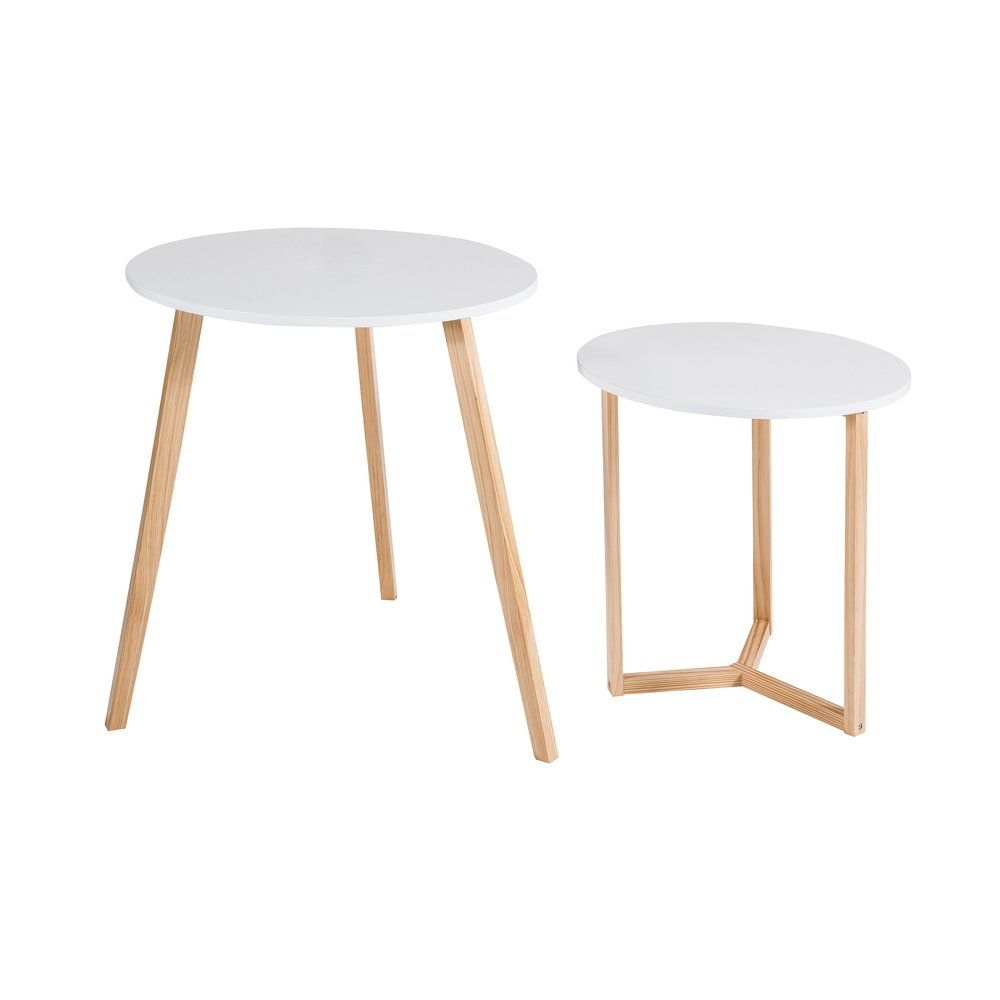 Set 2 tables rondes 'Stockholm' blanches Ø60 x H70 cm -Ø50 x H55 cm (photo)