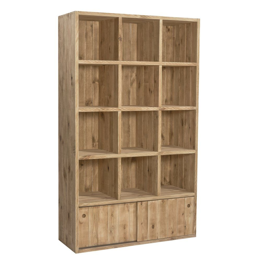 Buffet haut Westside L119 x P45 x H200cm 12 cases + 2 portes coulissantes (photo)