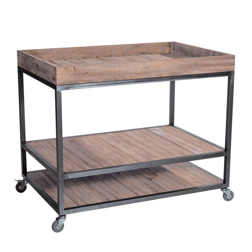 Structure meuble double face Héritage bois/métal L119 x P79 x H92cm (photo)