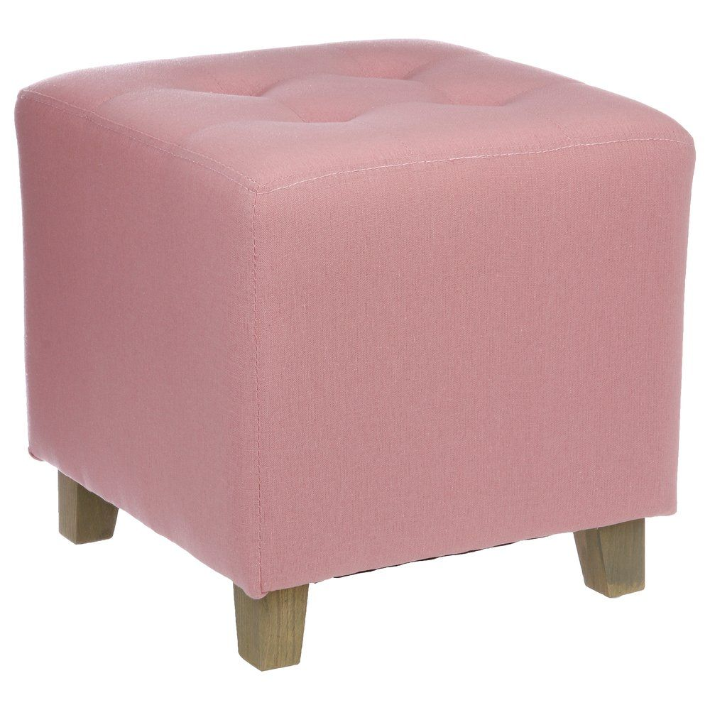 Pouf en lin rose clair Ø 35 x h.35cm (photo)