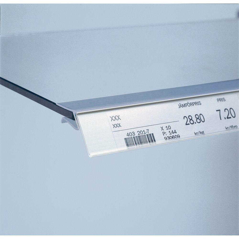 Porte étiquette tablette verre 8mm, 26 x 688mm finition cristal (photo)