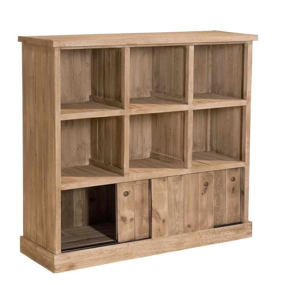 Buffet bas Westside pin naturel 6 cases 3 portes L119 x P39  x H110cm (photo)