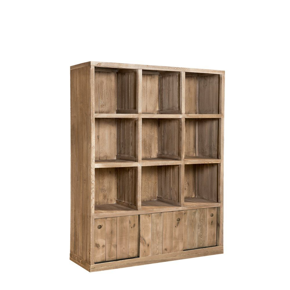 Buffet haut Westside 9 cases 3 portes pin naturel L119 x P39 x H150cm (photo)