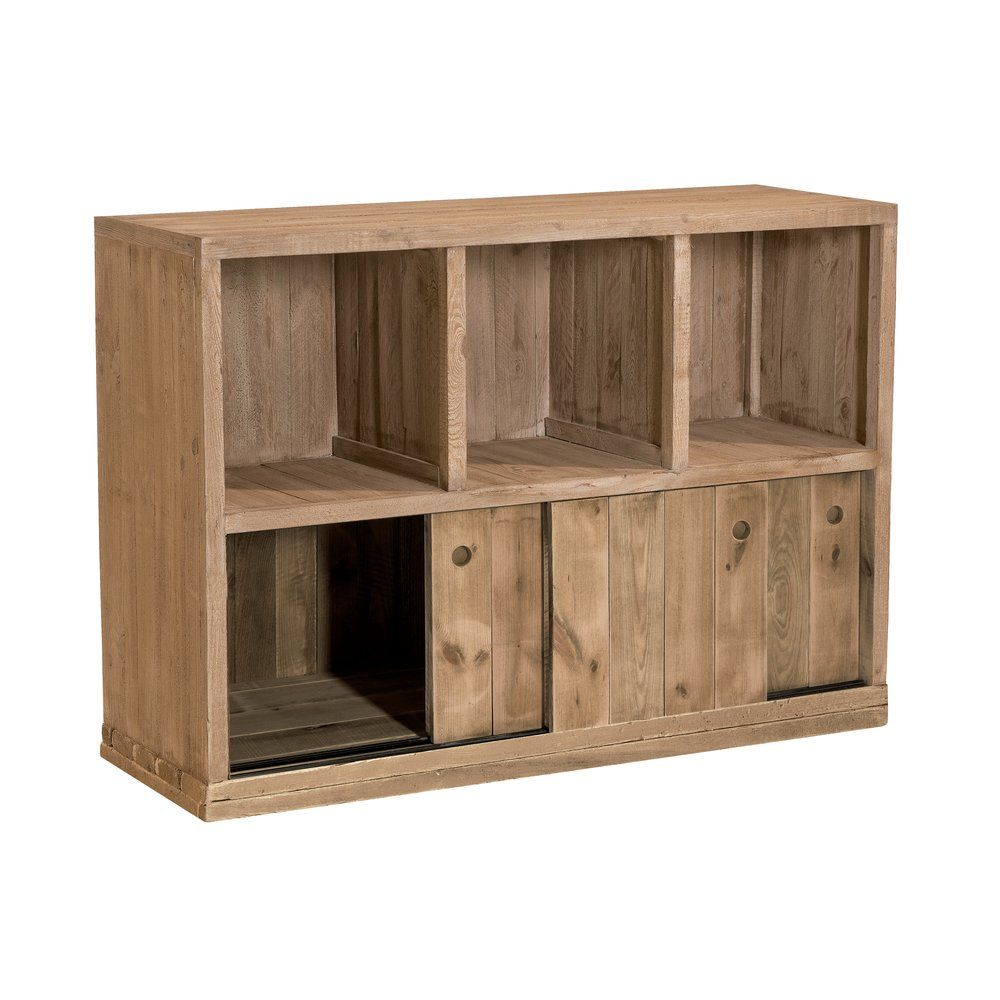 Buffet bas Westside pin naturel 3 cases 3 portes L119 x P39 x H80cm (photo)