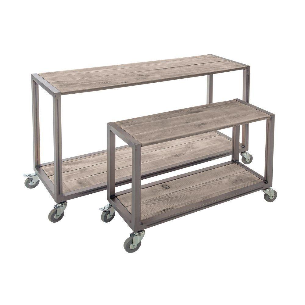 Tables gigognes Héritage Used bois et métal 119x39x75 +79x29x60cm par 2 (photo)