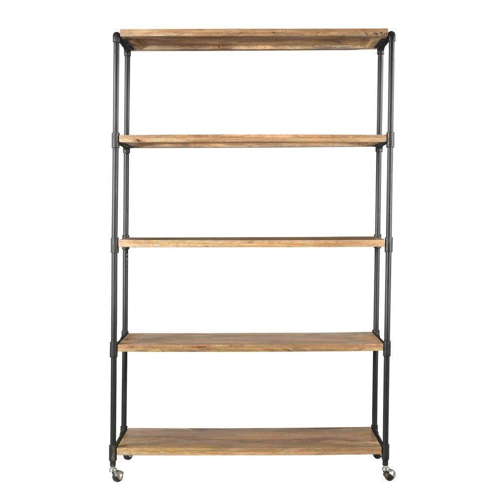 Etagère 5 niveaux Portland bois et métal avec roulettes L120 x P50 x H200cm (photo)
