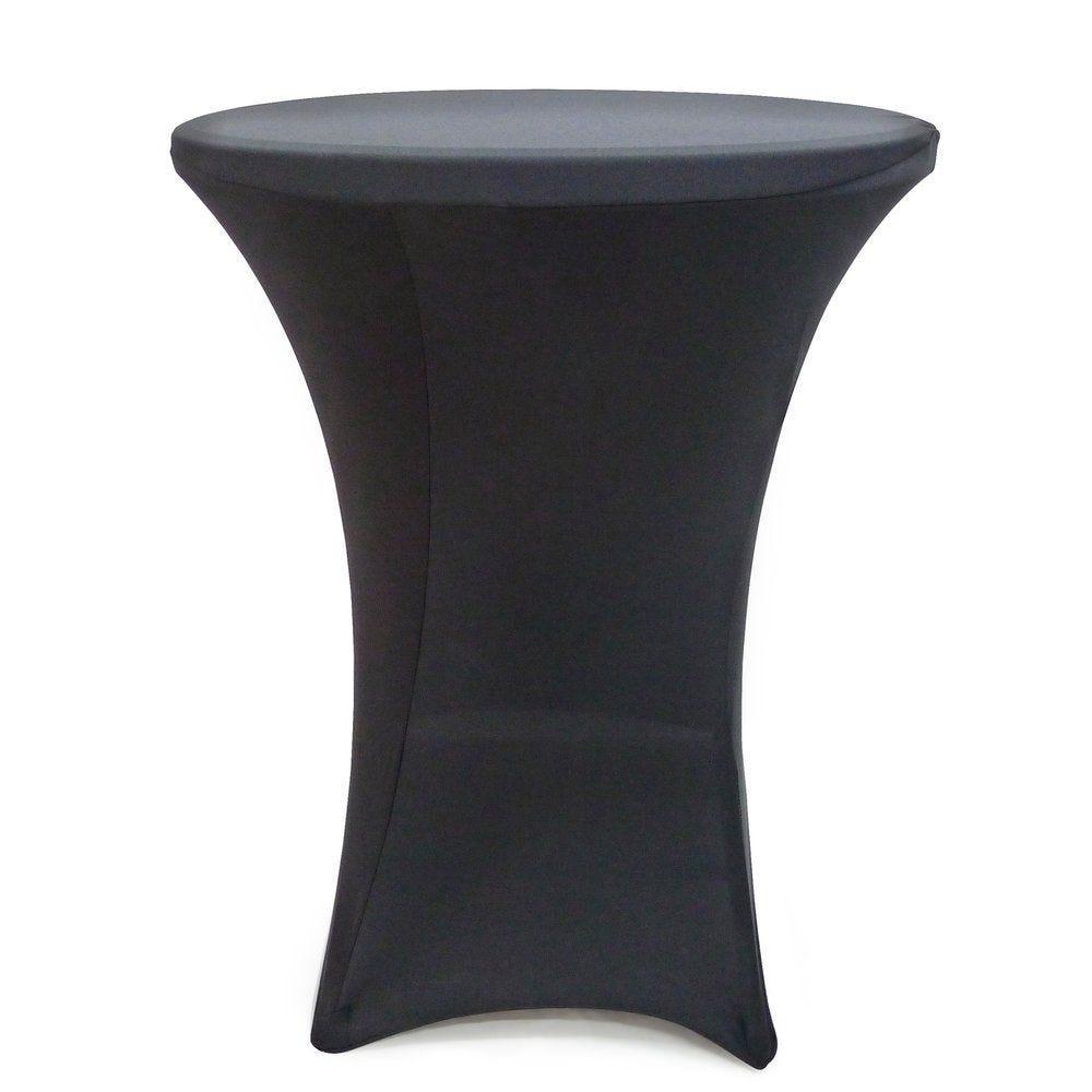 Housse ronde noire pour table mange debout 80x110cm (photo)