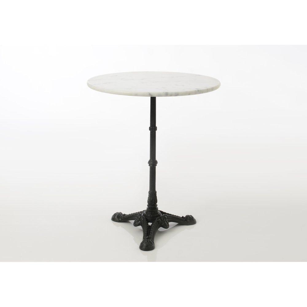 Table gueridon marbre et pied fonte noir