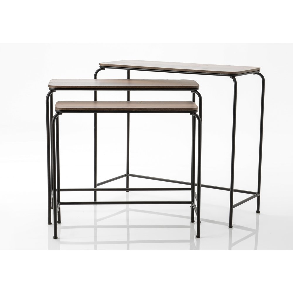 Console atelier metal et bois set de 3 (photo)