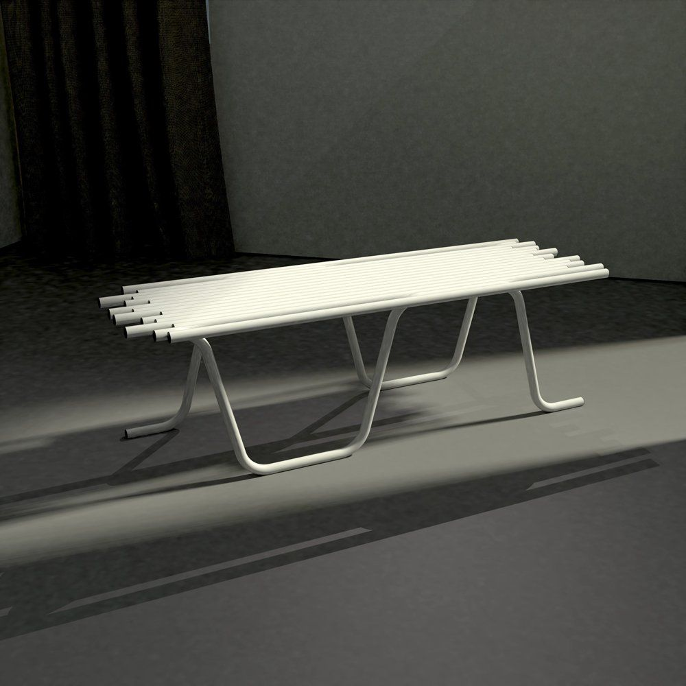 Banc tubulaire L130 x P 43 x H 40 cm blanc mat (photo)