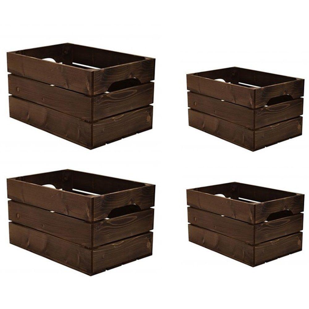 Caisse en bois L 54xP36xH20 cm + L54xP18xH20 cm +2x L40xP27xH20 cm - set de 4 (photo)