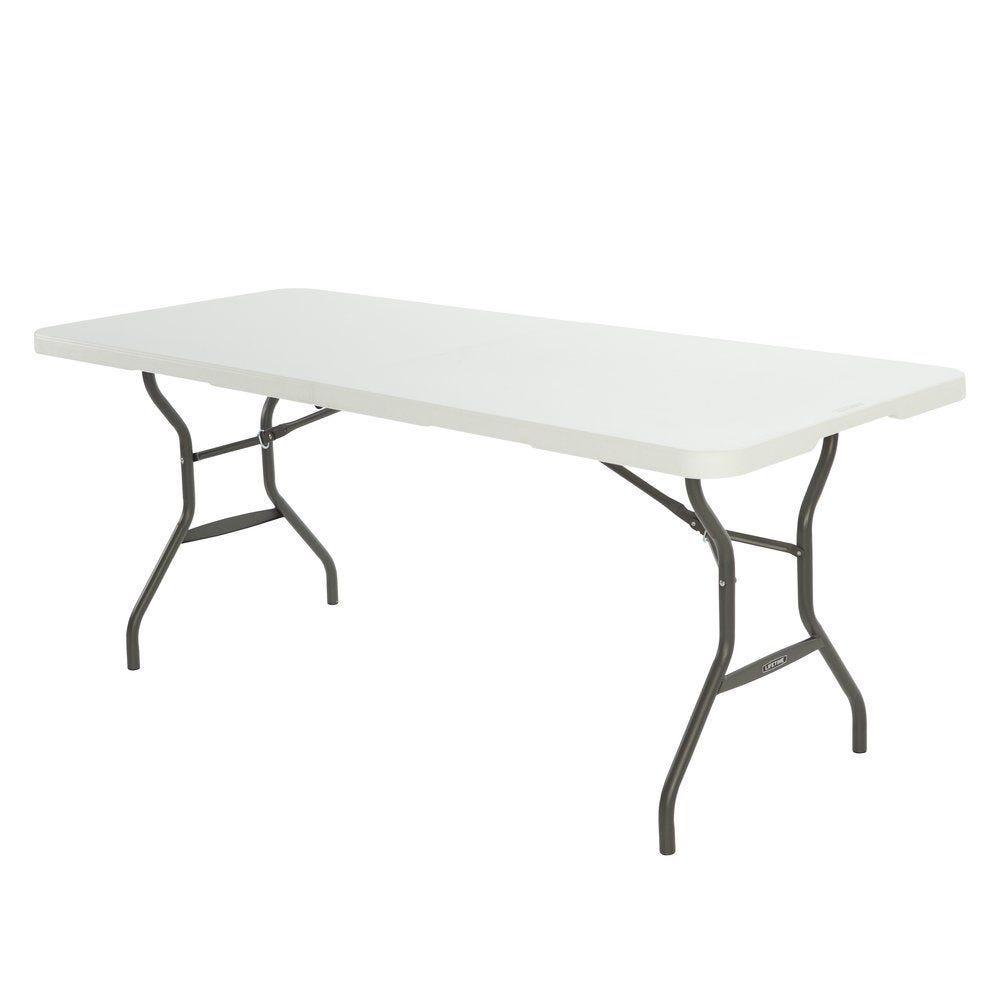 Table pliante blanche L183 x P76cm x H74cm plié L92x 76x 8 cm
