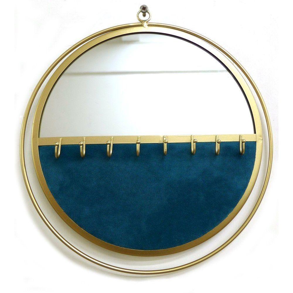 Miroir présentoir bijoux bleu canard et base or L32.5 x P3.5 x H34.5 cm
