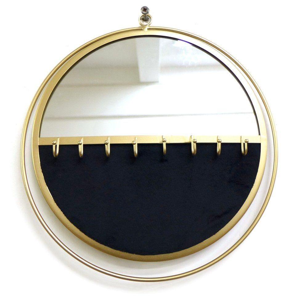 Miroir présentoir bijoux noir et base or L32.5 x P3.5 x H34.5 cm