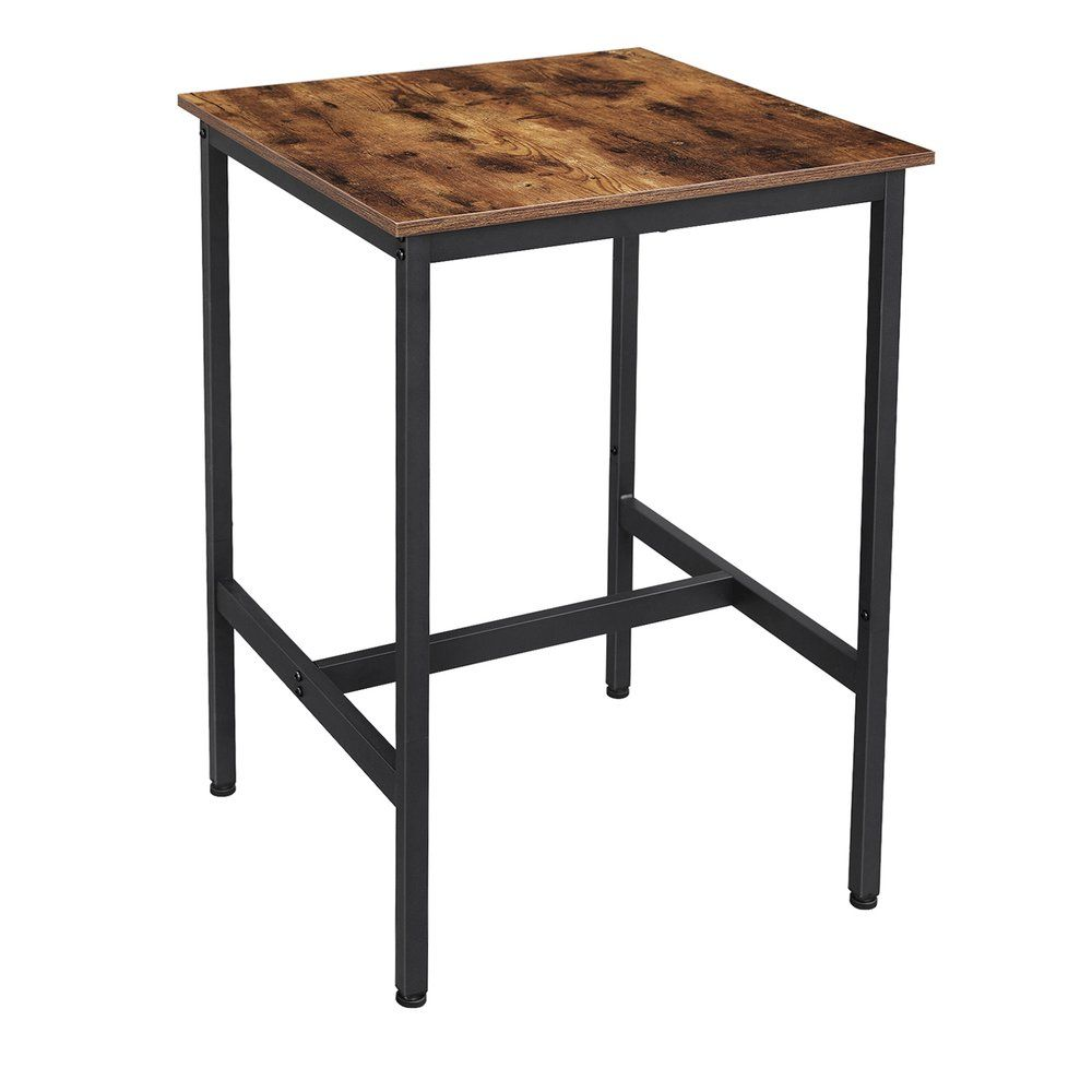 Table haute bois et métal L60 x P60 x H90 cm