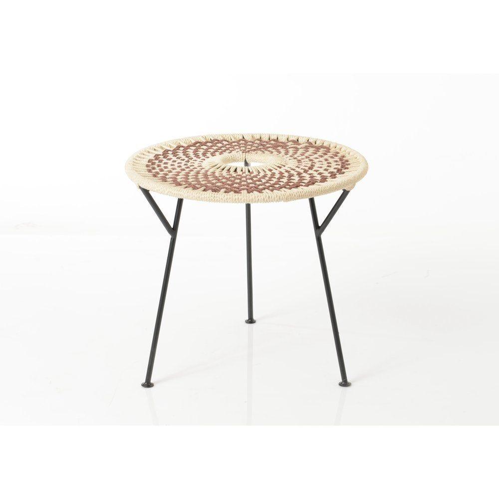 Table basse plateau tressé Baya marron Ø50cm x H45cm