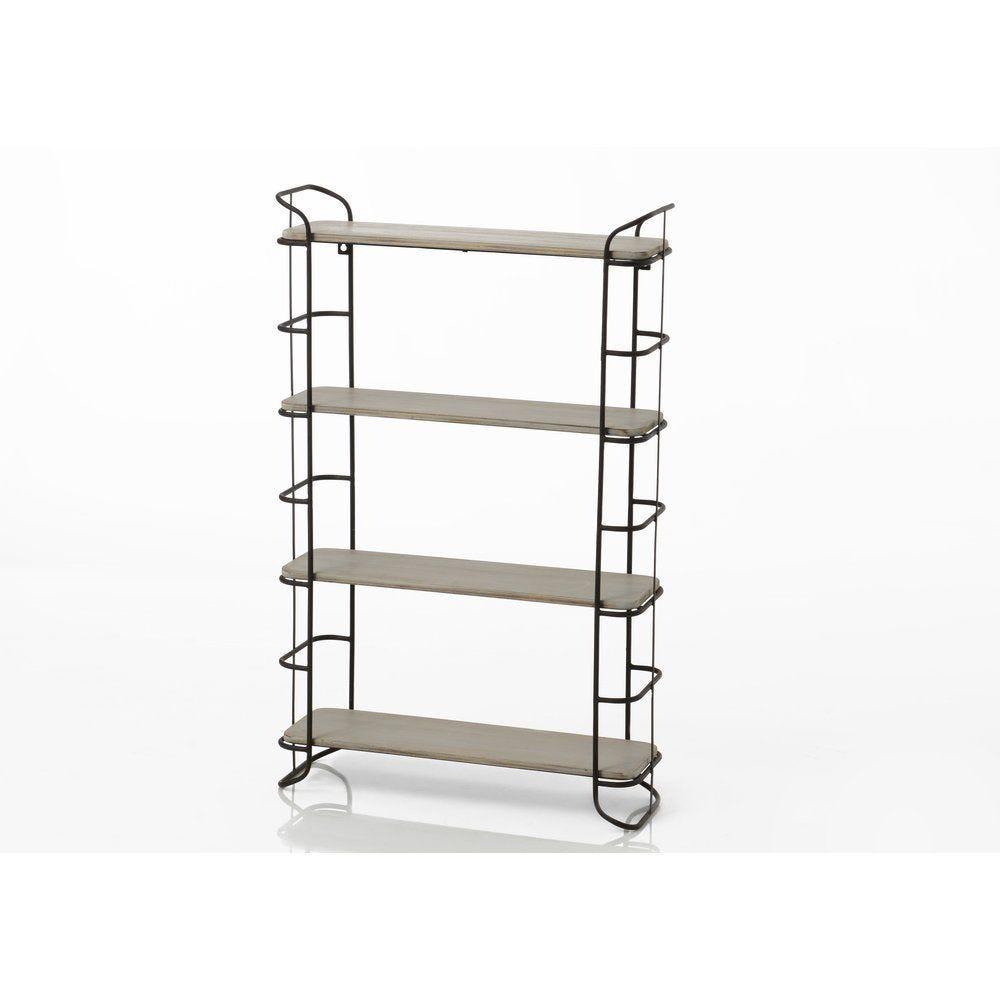 Etagère metal et bois 4 niveaux 50x16x80cm