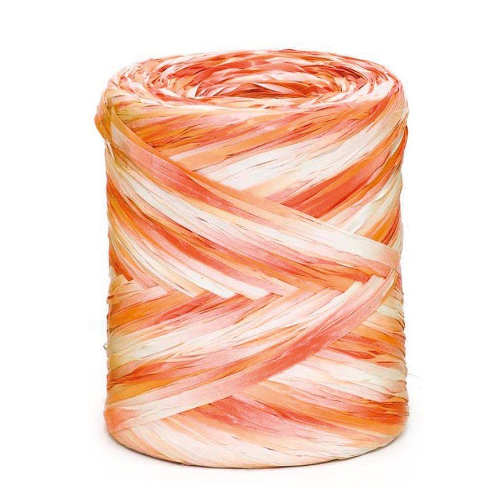 Raphia synthétique multicolore rose orange crème 15 mm x 200 m