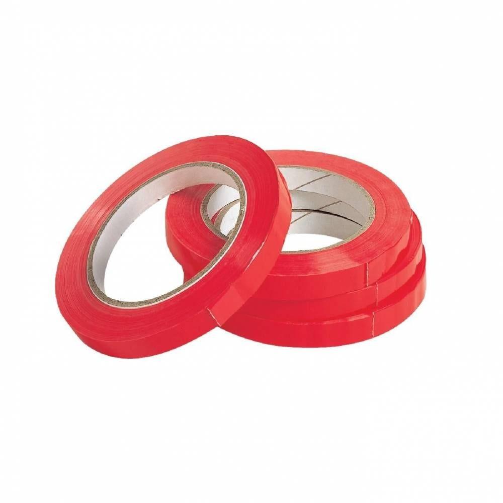 Adhésif rouge 100m x 12 mm pour scelleuse - par 12 (photo)