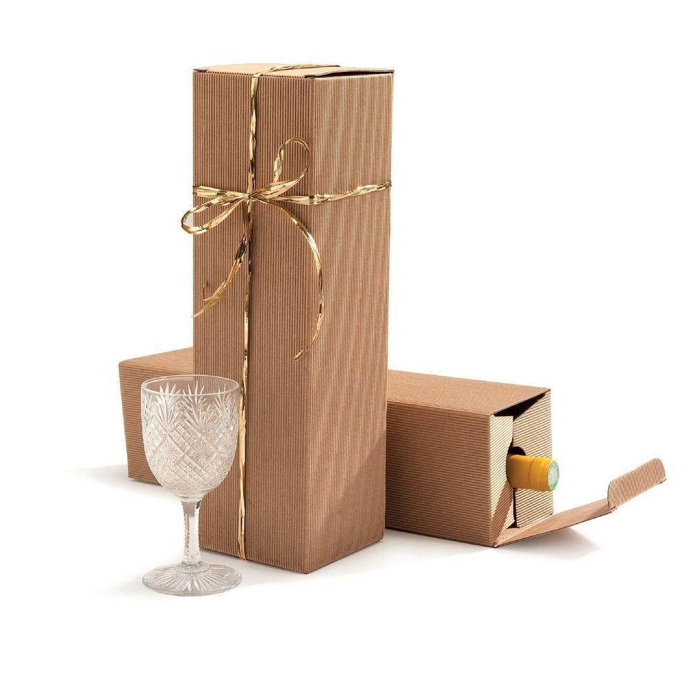 Boîte 1 bouteille micro-cannelure par 10 - 9 x 9 x 33 cm (photo)