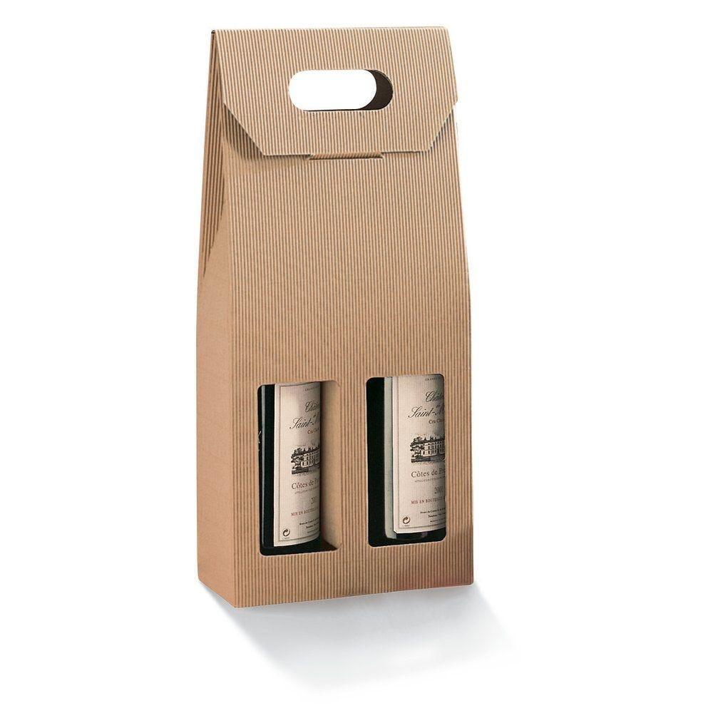 Boîte 2 bouteilles micro-cannelure par 10 - 18 x 9 x 41 cm (photo)