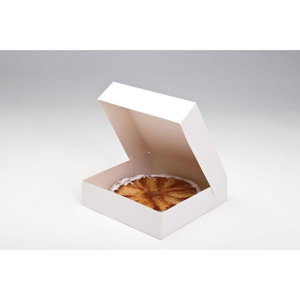 Boîte patissière carton blanc 26x5cm - par 50 (photo)