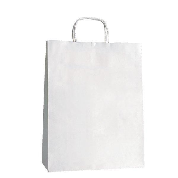 Sac kraft poignées torsadées blanc - 22 x 10 x 31 cm x50 (photo)