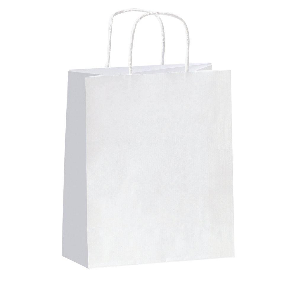 Sac kraft poignees torsadees blanc 46 x 14 x 36 cm par 50 (photo)