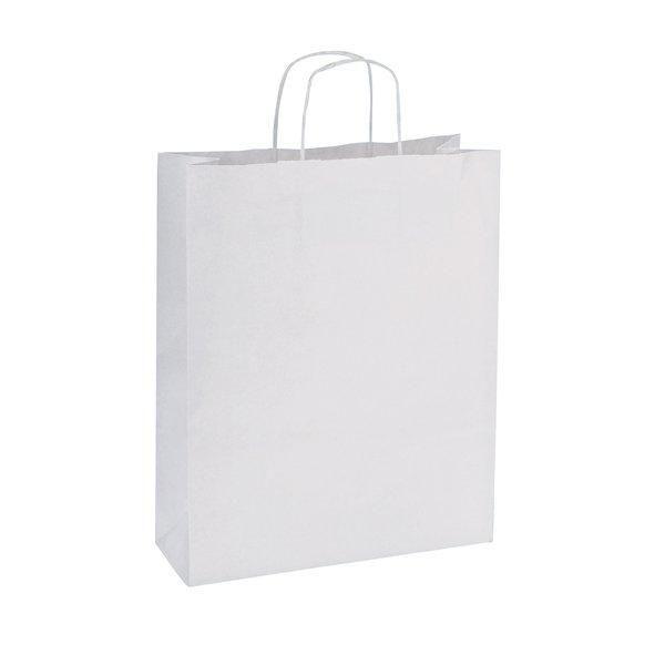 Sac kraft poignées torsadées blanc 14x8x21cm - par 50