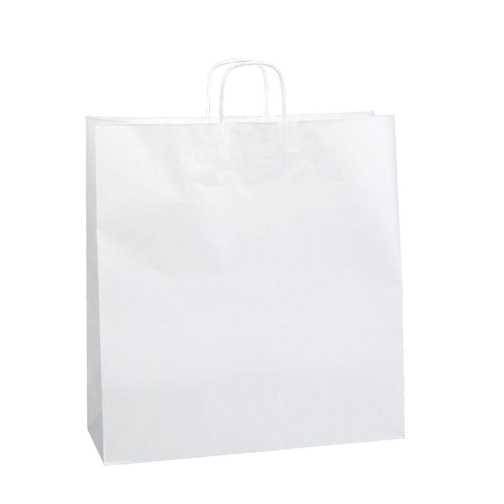 Sac kraft poignées torsadées blanc 45 x 17 x 48 cm - x50 (photo)
