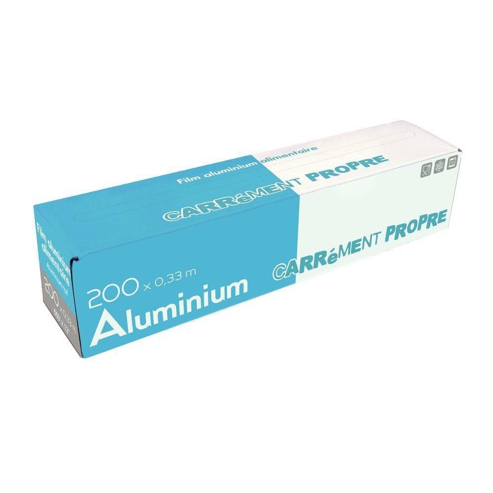 Papier aluminium alimentaire rouleau 0,33 x 200 m en boîte distributrice (photo)
