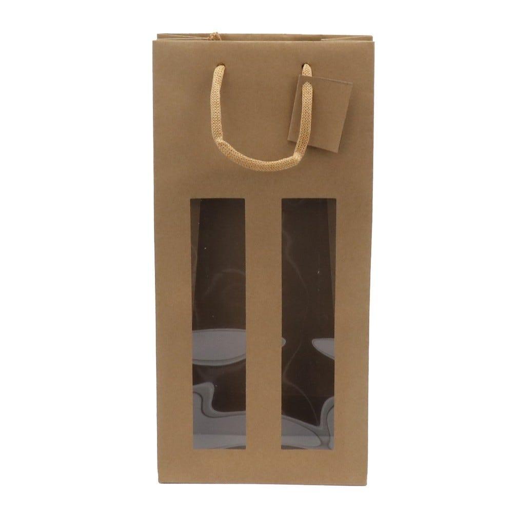 Sac 2 bouteilles à fenêtre -L18 x P9 x H38 cm - par 10 (photo)