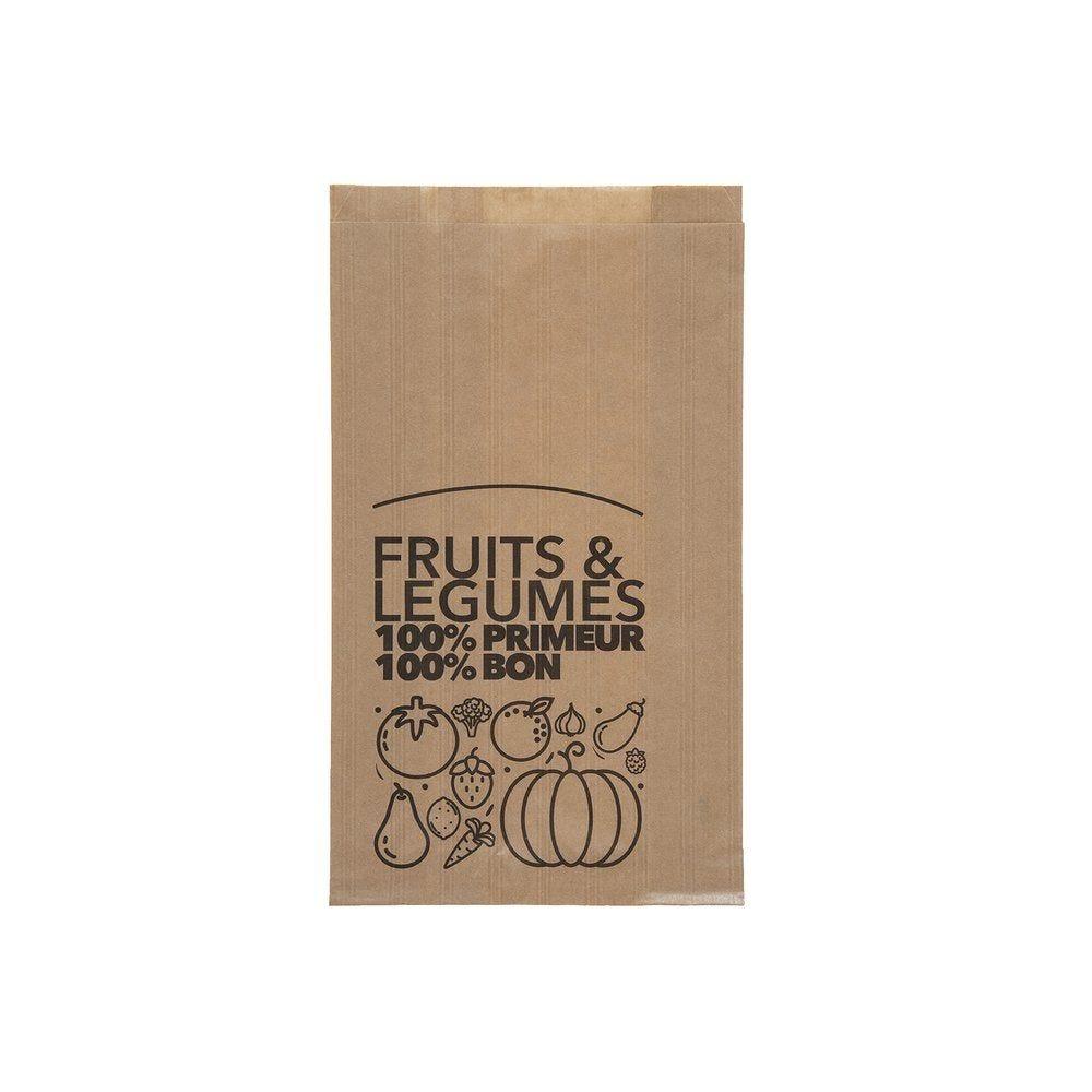 Sachet kraft brun fruits et légumes capacité 2 kg L20 + P6 x H31 cm par 1000 (photo)