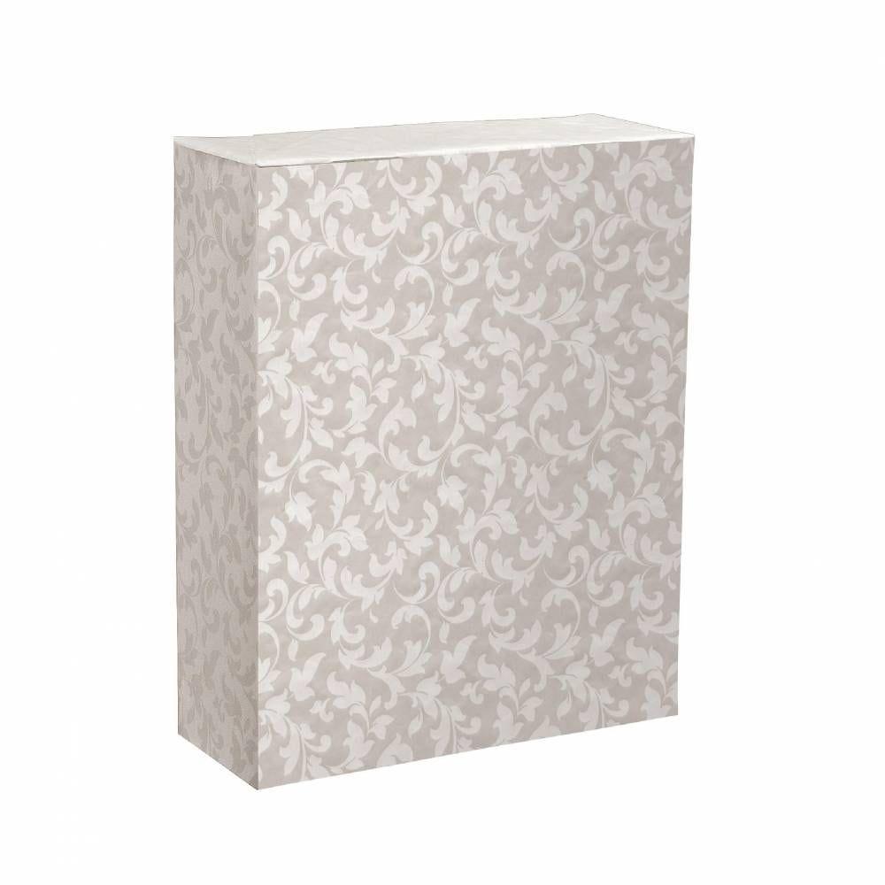 Papier cadeau cadeau 'Baroque' blanc nacré -0.70x100m (photo)