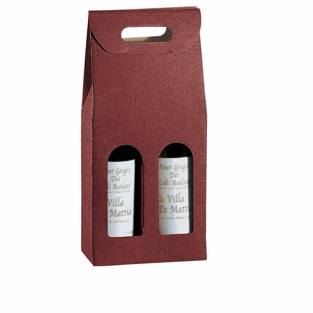 Boîte 2 bouteilles - bordeaux - 18 x 9 x 40 cm - par 10 (photo)