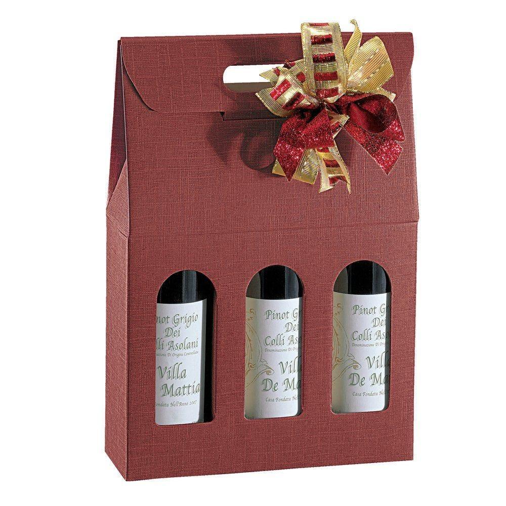 Boîte 3 bouteilles Bordeaux - 27 x 9 x 38,5 cm - par 10 (photo)