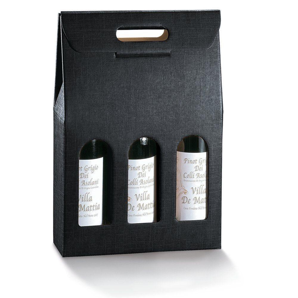 Boîte 3 bouteilles noir - 27 x 9 x 40 cm - par 10 (photo)