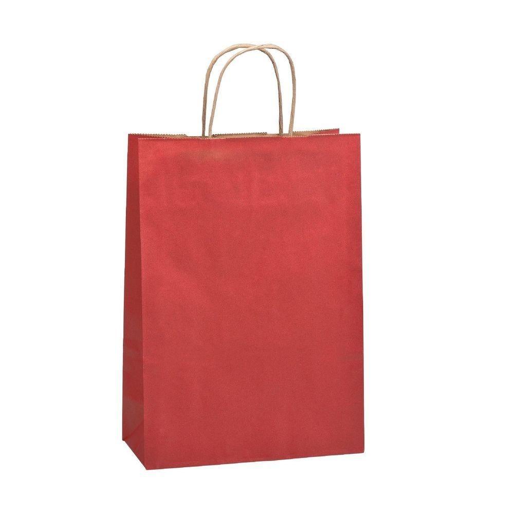 Sac PT Kraft lisse rouge - L36 x P12 x H41 cm - Par 50 (photo)