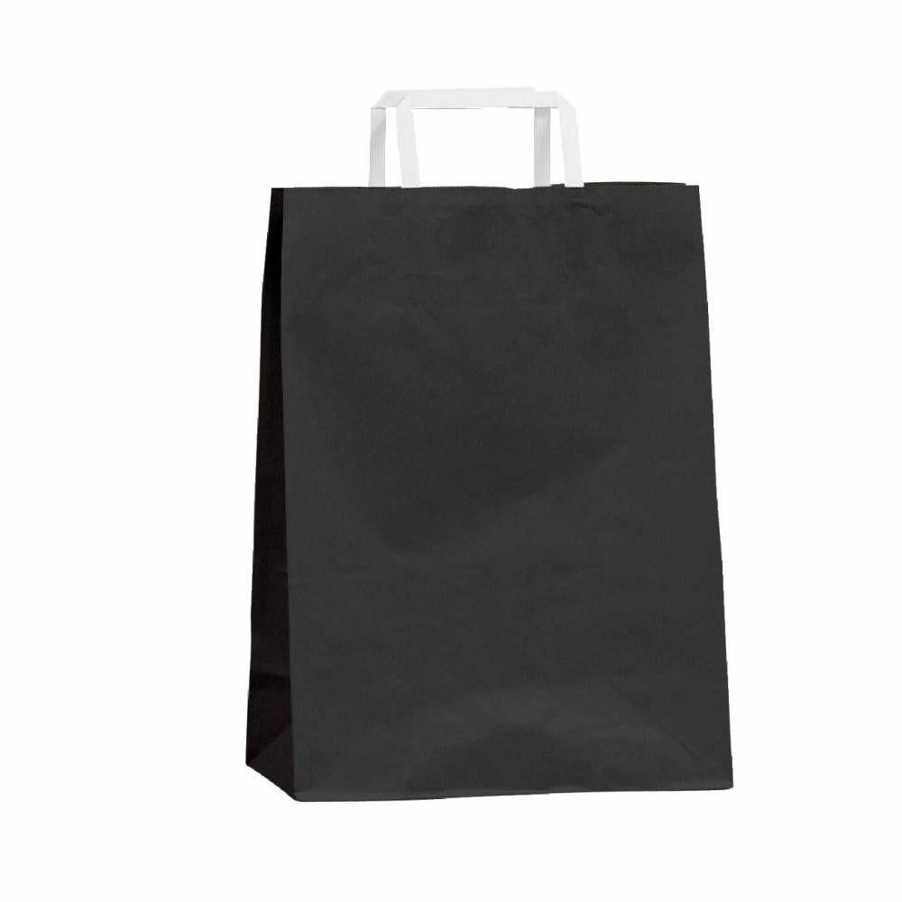 Sac kraft poignées plates - noir - 22 x 10 x 29 cm - Par 50 (photo)