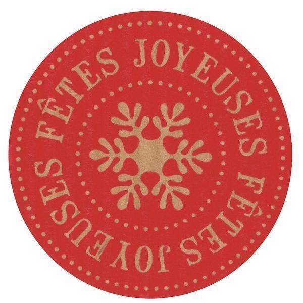 Etiquette adhésive Joyeuses Fêtes rouge Diam.35 mm par 500 (photo)