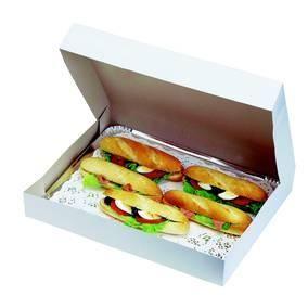 Boîte blanc pour plateaux traiteur 28x19x5cm par 25 (photo)