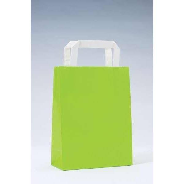Sac kraft vert anis poignées plates 18x8x22cm - par 50 (photo)