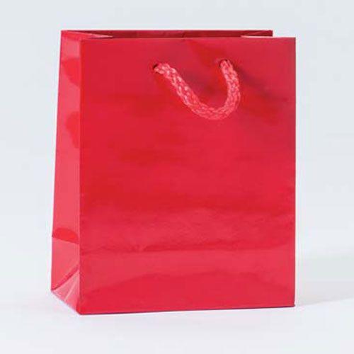 Sac Luxe pelliculé rouge L11 x P6 x H14 cm par 12 (photo)