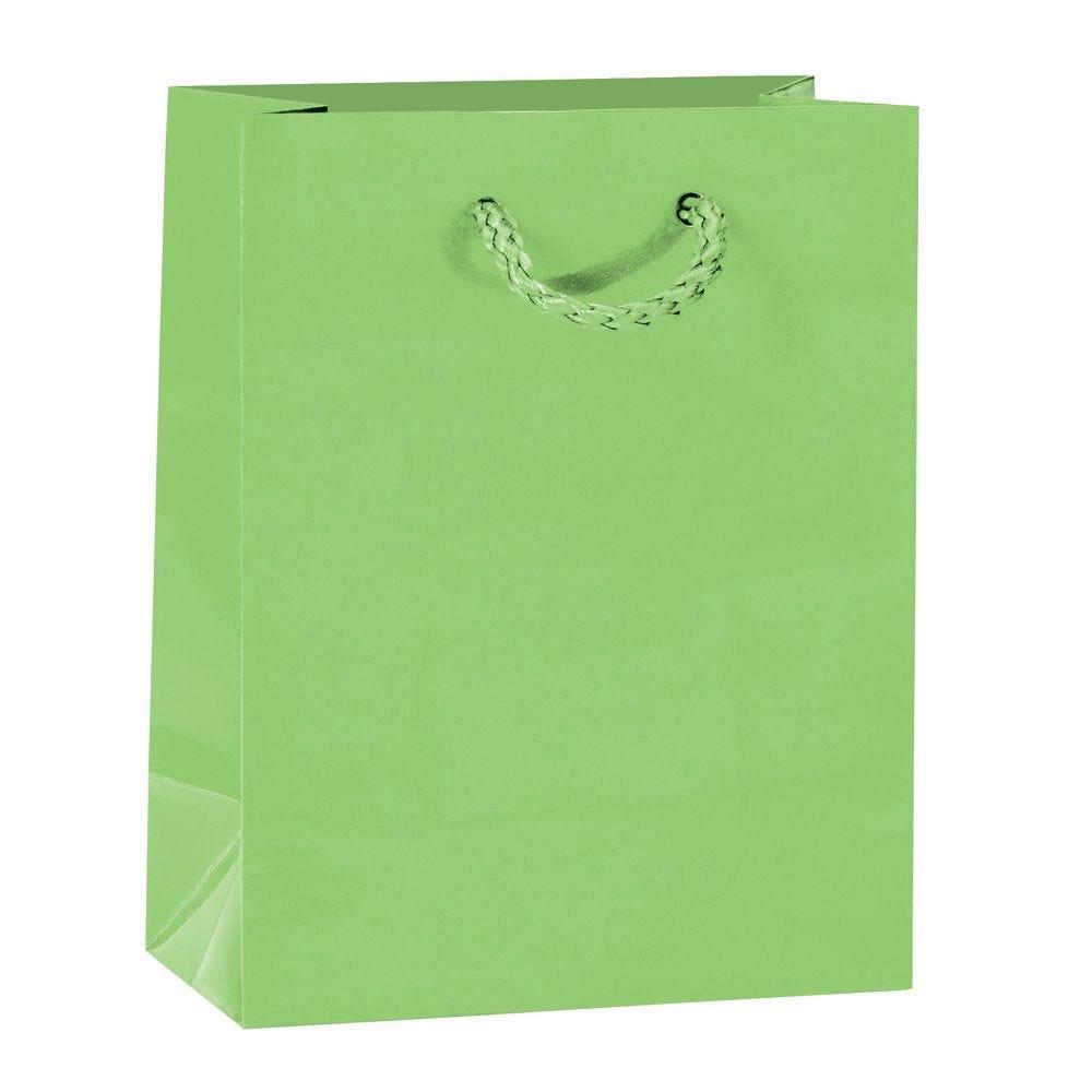 Sac Luxe pelliculé vert L11 x P6 x H14 cm par 12 (photo)